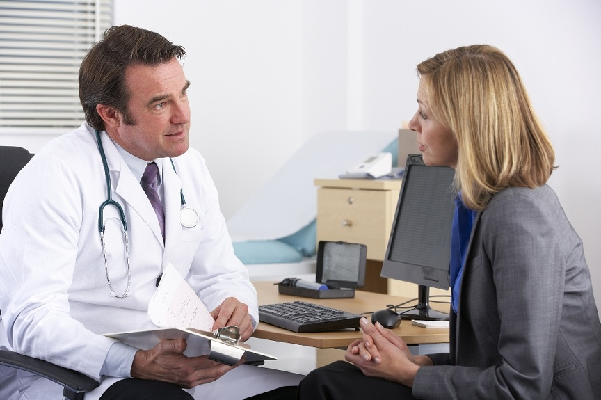 Female patient and male doctor