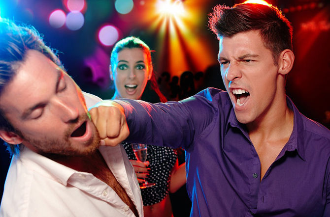 Two men fighting for a woman in nightclub